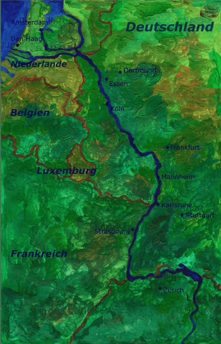 Landkarte Rhein Quiz