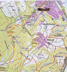 Karte Wanderroute Fünfseenblick