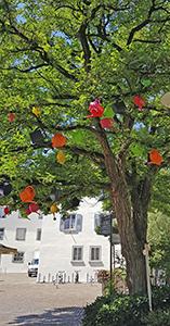 Gießkannen am Baum zur Landesgartenschau in Überlingen