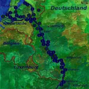 Landkarte mit Städten am Rhein