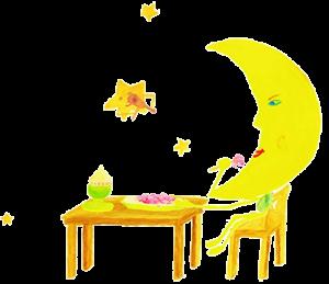 Gedicht Mond / Gute Nachtgeschichte mit essendem Mond