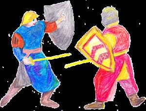 Zeichnung Ritter zu den feindlichen Brüdern - Burg Sterrenberg und Liebenstein