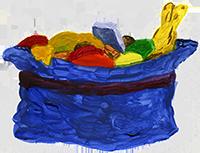 Schlappo Osterwirbel, Hut mit Süßigkeiten