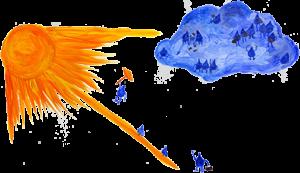 Fliegende Wassertropfen bei der Kindergeschichte Gufu Munka