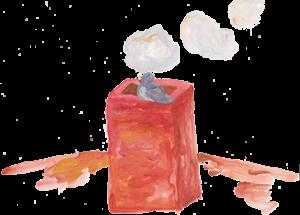 Taube Ludwig auf dem Schornstein der Bäckerei