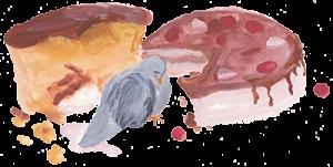 Taube Ludwig mit Kuchen